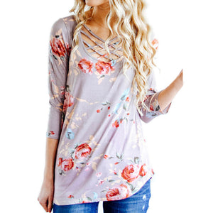 Women Long Sleeve Floral Casual Blouse Tops