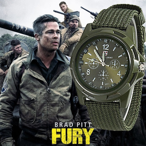Army Watch Nylon Military Quartz Watch Fabric Canvas Strap Casual Cool Men's Sport Round Dial