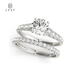 LESF 1.0 Carats Round Cut Sona Rhodium Plated Wedding Ring Set