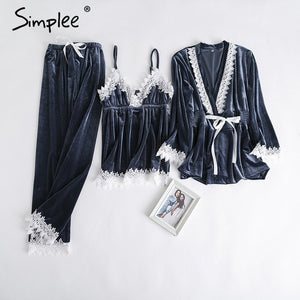 Simplee velvet two piece pajama set lace splice plus size sleepwear pajamas