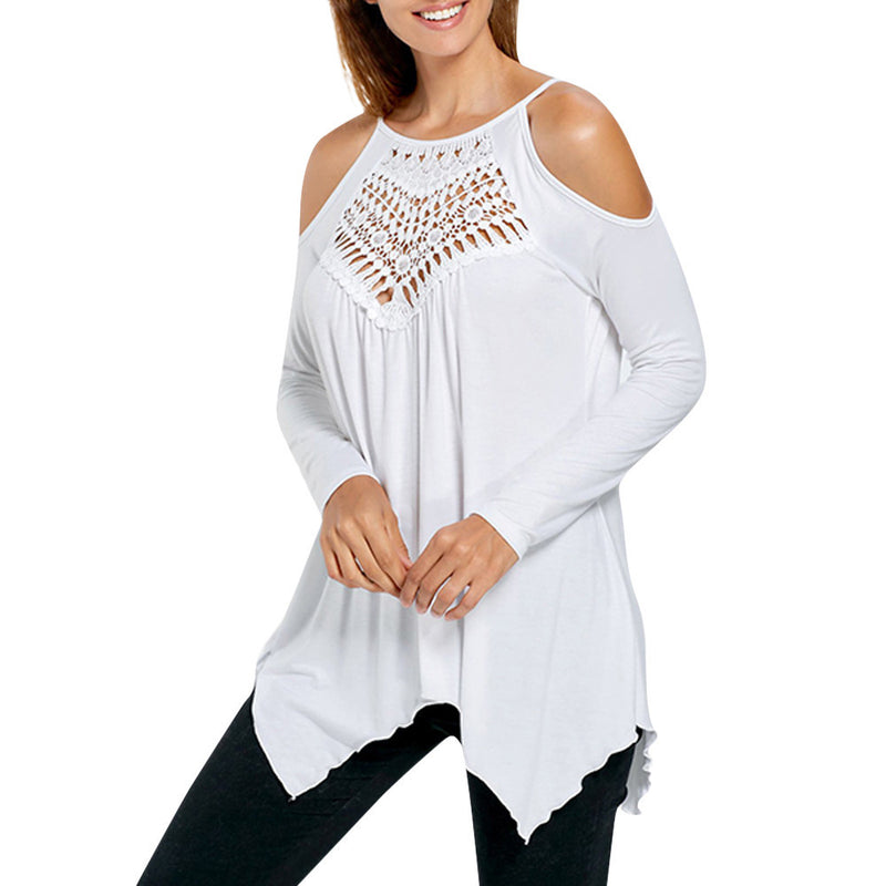 Womens Long Sleeve Lace Shirt Casual Blouse Loose Tops T Shirt