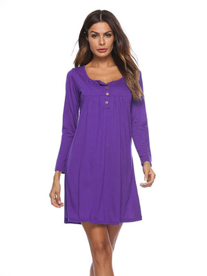 Women Fashion Autumn Casual Solid Loose Long Sleeve Mini Dress