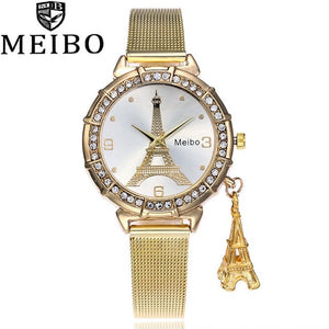 Rose gold mesh belt France Eiffel Tower ladies stainless steel tower pendant watch