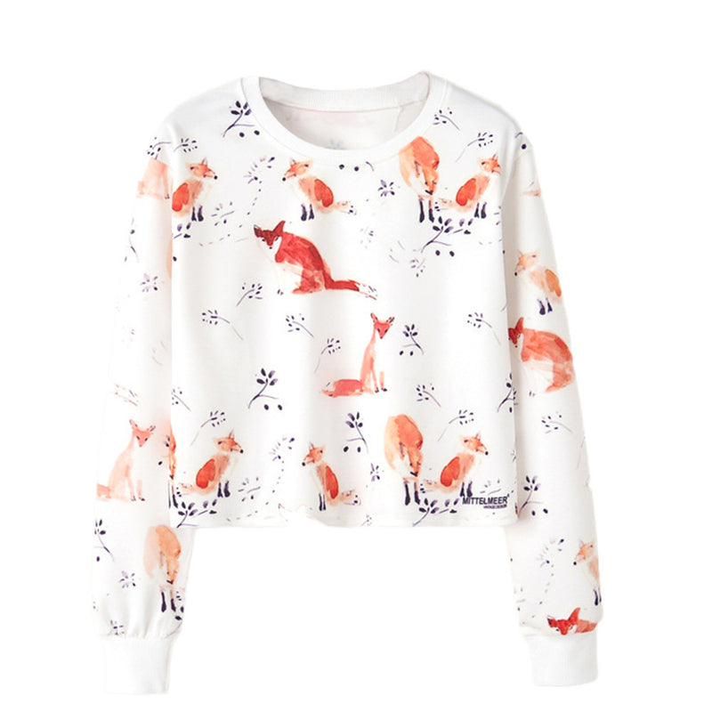 Women Long Sleeve Print Casual Sweatshirt Pullover Top Blouse