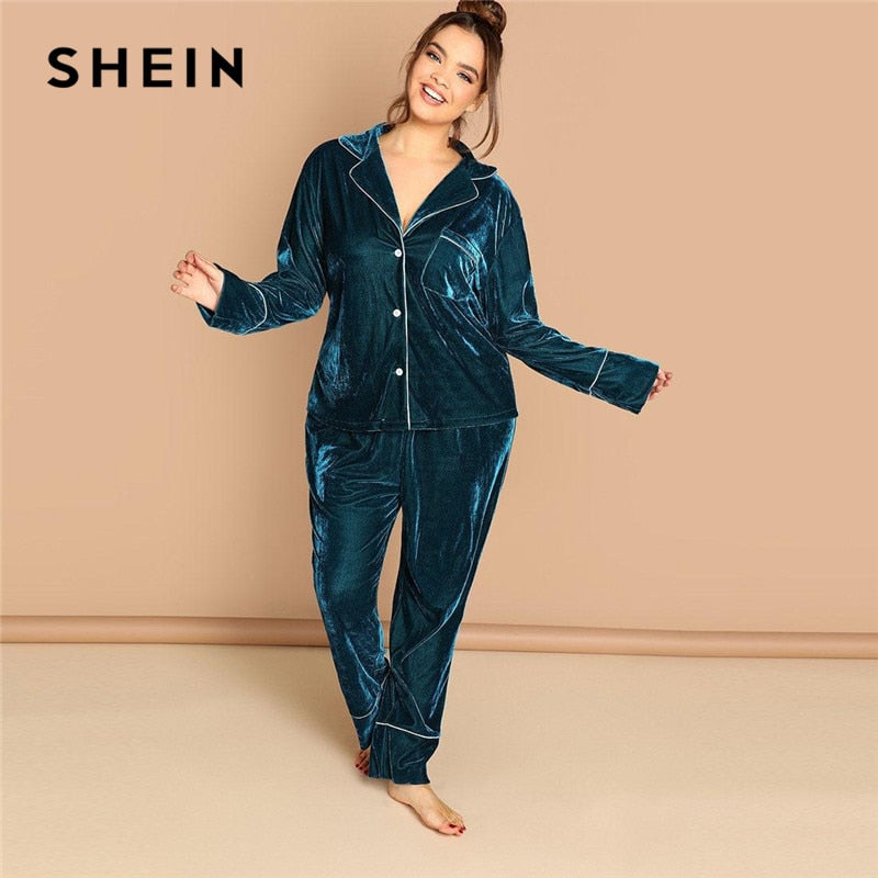 SHEIN Plus Size Notched Collar Top And Pants Blue Velvet Pajama Set Long Sleeve Sleepwear Loungewear