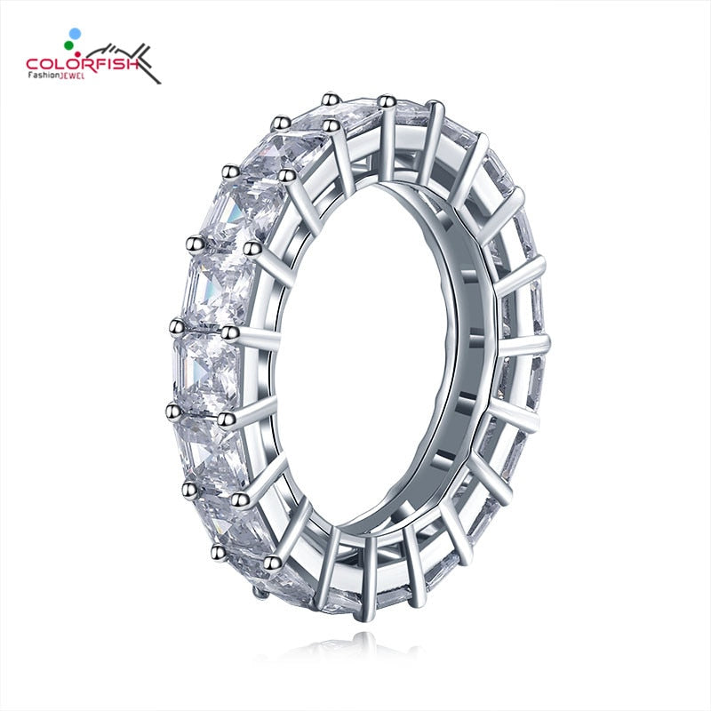 COLORFISH 925 Sterling Silver 4mm Wedding Eternity Rings Asscher Cut 0.5ct