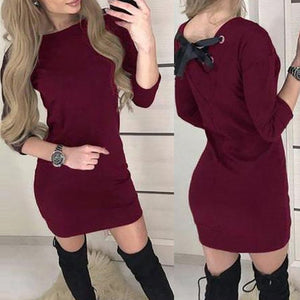 Women's Fashion Sexy Solid O-Neck Long Sleeve Mini Dress