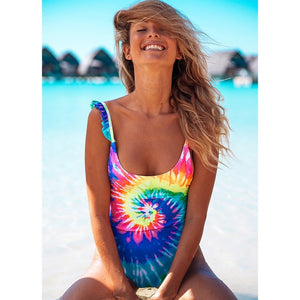 One Piece Swimsuit Hollow Out Swimwear  Print Bodysuit