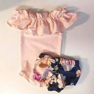 Newborn Infant Kid Baby Girl Ruffles Romper Jumpsuit+Floral Shorts Pants Outfits