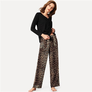Sheinside Women's Black Button Cotton Top & Drawstring Leopard Print  Pajama Set