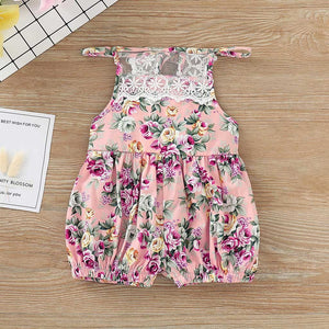 Newborn Infant Baby Girls Floral Print Lace Strap Romper Jumpsuit Outfits