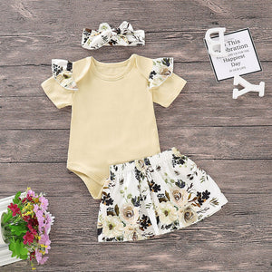 Infant Baby Girls Solid Jumpsuit Romper+Floral Print Skirts+Headbands Outfits