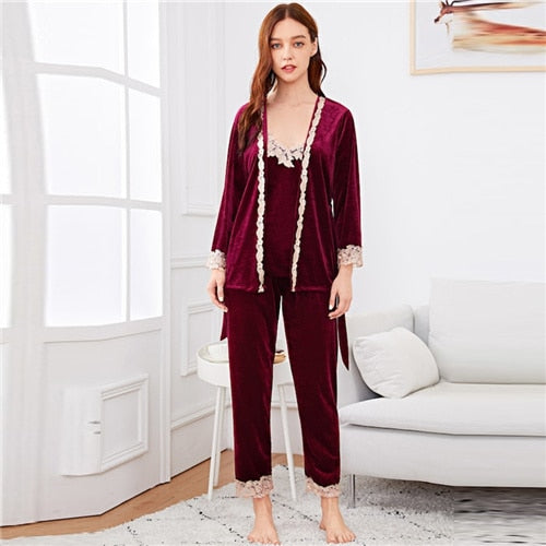 SHEIN Burgundy Contrast Lace Cami Belted Pajama Set With Robe Nightwear Tops With Long Pants