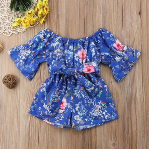 Infant Toddler Baby Girls Off Shoulder Floral Print Bow Romper Jumpsuit Outfits