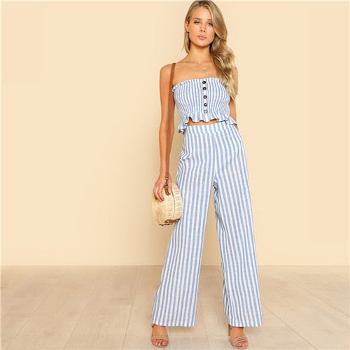 SHEIN Blue Bohemian Shirred Ruffle Hem Strapless Crop Cami Top and Wide Leg Pants Striped Sets Women Summer Beach Two Piece Set