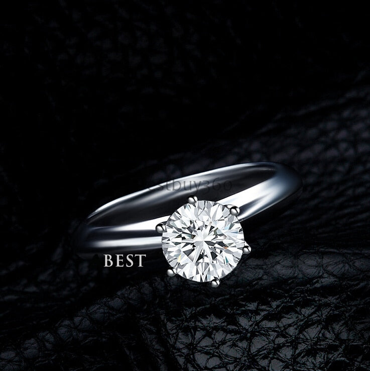 3 carat 925 sterling silver ring classic solitaire engagement ring
