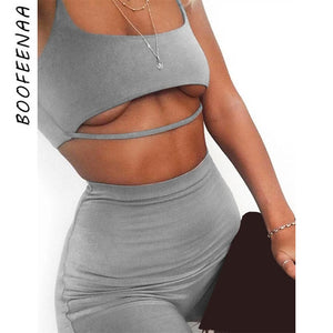 BOOFEENAA Sexy Short Two Piece Set Crop Tops and Biker Shorts Grey Black Bodycon Matching Sets Summer Clothes for Women C83-I71