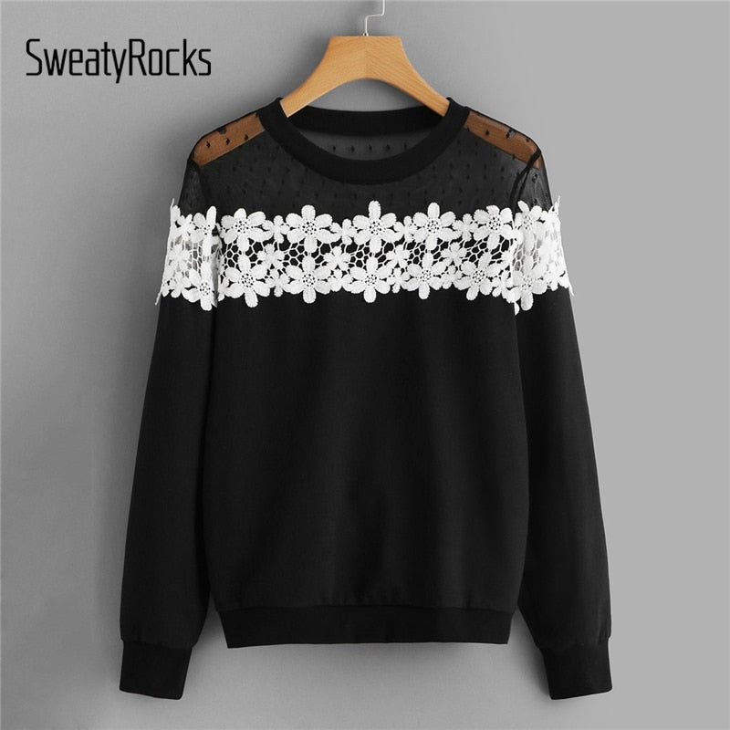 SweatyRocks Black Contrast Lace Sweatshirt Long Sleeve O-Neck Casual Pullovers 2019 Spring Streetwear Floral Women Sweatshirts