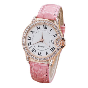 Fashion New Geneva Leather Band Stainless Steel Quartz Analog Wrist Watch