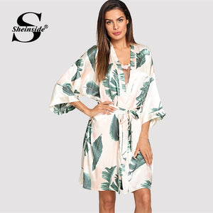 Sheinside Tropical Plant Print V Neck Belted Robe Half Sleeve Sleepwear Robe Satin Dressing Gown