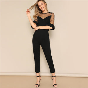 SHEIN Black Pearl Beading Mesh Sweetheart Tailored Half Sleeve Jumpsuit Spring Women Office Lady Solid Pencil Elegant Jumpsuits