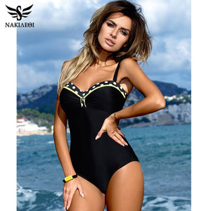 NAKIAEOI 2019 One Piece Swimsuit Plus Size Swimwear Women Push Up Swimwear Print Patchwork Vintage Retro Bathing Suit Swim Wear