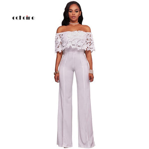 Echoine Women Sexy Strapless Jumpsuit Floral Lace Appliques Slash Neck Off Shoulder Long Wide Leg Pants Female Exquisite Rompers