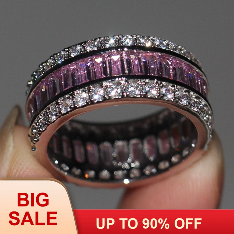 Fashion Jewelry Princess cut 15ct 5A Pink Zircon stone 925 Sterling Silver  Ring