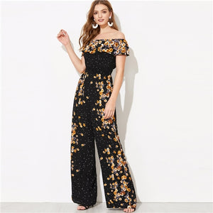 SHEIN Black Flounce Foldover Wide Leg Floral Bardot Jumpsuit Spring Women Solid Off the Shoulder Glamorous Maxi Jumpsuits