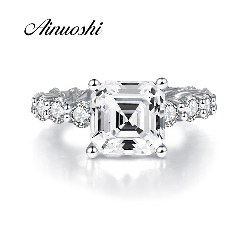 AINOUSHI 925 Sterling Silver Engagement Rings for Women Full Eternity 4 Carats Asscher Cut Rings