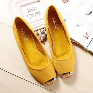 Square Toe Leather Ballet Flat Shoes