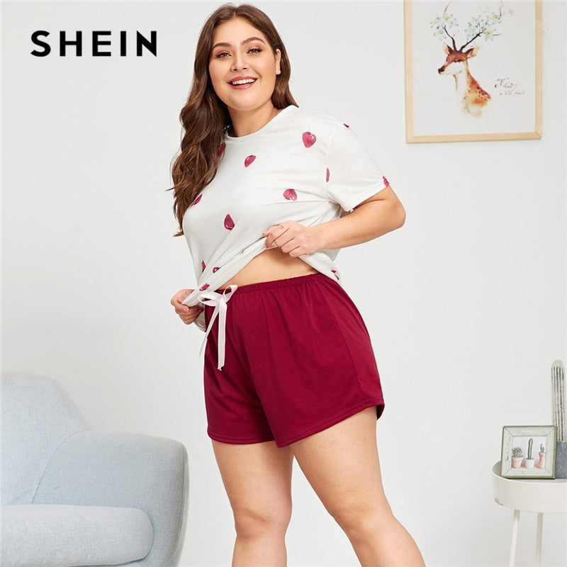 SHEIN Plus Size Strawberry Print Pajama Set Short Sleeve Top Tees Shorts