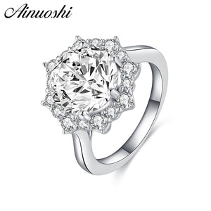 AINOUSHI 925 Sterling Silver Ring 3 ct Round Cut Halo Flower Engagement Rings