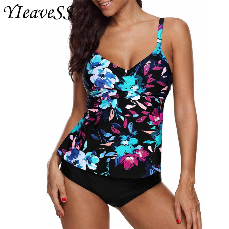 Plus Size Tankini Swimming Suit 5XL Separate Bikini Waist Push Up Swimwear
