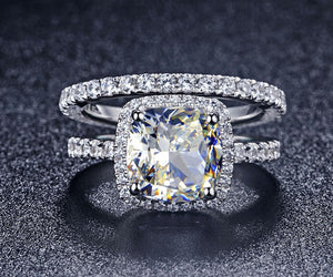3 Carat semi-precious Cushion Cut Engagement Wedding Ring Set