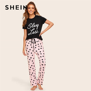 SHEIN Slogan Print Top And Drawstring Waist Heart Pants Pajama Set