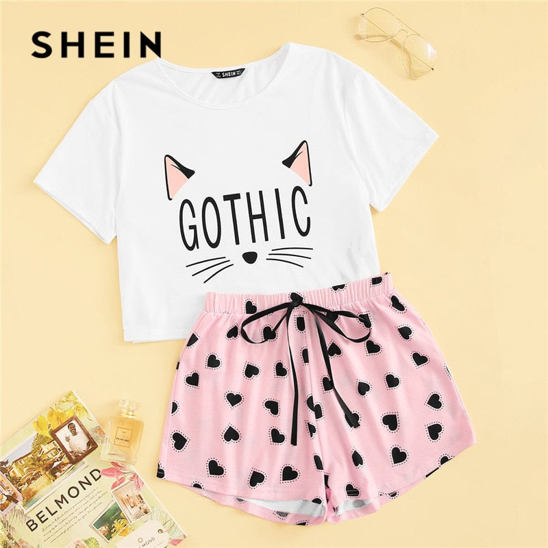 SHEIN Cat Print Tshirt And Heart Elastic Waist Shorts Sleepwear