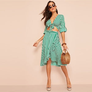 SHEIN Knot Front Roll Sleeve Stripe Crop Top And Skirt Two Piece Set Women Sexy Deep V Neck Blouse Summer Boho Matching Sets
