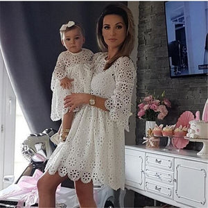 Fashion Family Matching Clothes Mother and Daughter Dresses  Floral Lace Party Clothes