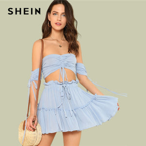 SHEIN Drawstring Crop Bardot Top With Tiered Skirt Set Sexy Solid Frill Sleeveless 2 Piece Set Off the Shoulder Women Set