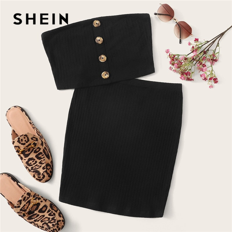 SHEIN Black Button Front Bandeau Crop Top And Bodycon Skirt 2 Two Set Women Summer Sollid Sleeveless Sexy Matching Sets