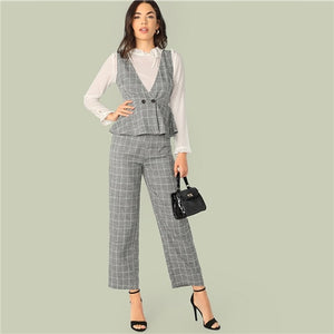 SHEIN Classy Grey Double Button Wrap Peplum Plaid Top Without Blouse and Pants Set Women Spring Summer Elegant Two Piece Set