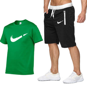 T Shirt+Shorts Sets Men Letter Printed Summer Suits Casual Tshirt Men Tracksuits Brand Clothing Streetwwar Tops Tees Set Male