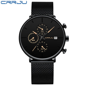 CRRJU Mens Watch Reloj Hombre 2019 Luxury Quartz Watch Big Dial Waterproof