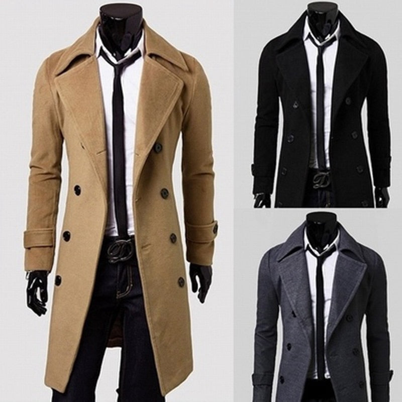 SWYIVY Long Slim Men Wool Trench Coat Double-breasted Lapel Windbreaker Male Fashion Autumn Winter Coat Long Design Trench Male