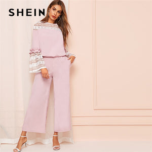SHEIN Pink Contrast Lace Flounce Sleeve Women Blouse And Wide Leg Pants Two Piece Set Spring Elegant Solid Ladies Matching Sets