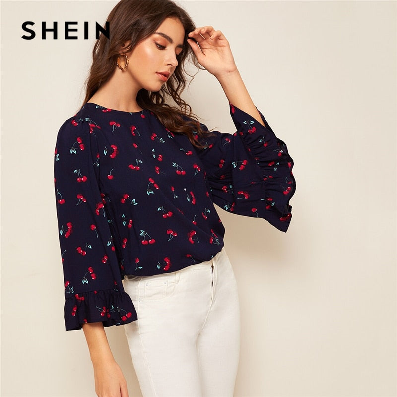 SHEIN Keyhole Back Bell Sleeve Cherry Fruit Vegetable Print Blouse Women 2019 Boho Navy Spring Womens Tops And Blouses