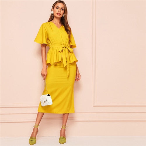 SHEIN V-Neck Belted Blouse And Split Hem Midi Skirt 2 Piece Set Women Summer Elegant Ruffle Hem Two Piece Set Matching Sets