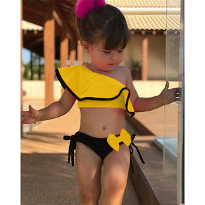 Shujin Baby Girl Swimwear Bownot Solid Ruffled Two-piece  Swimming Suit
