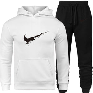 Tracksuit Thermal Men Sportswear Set Fleece Thick Hoodie+Pants Sporting Suit Casual Sweatshirts